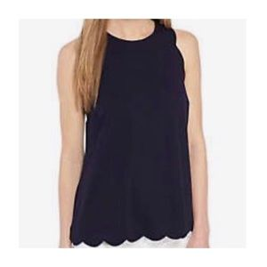 Crown & Ivy Navy Scallop Top